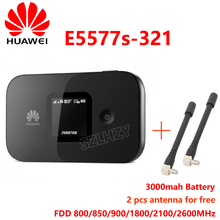 цены Unlocked Huawei E5577s-321 4G 800/850/900/1800/2100/2600Mhz 150Mbps 3000mAh Battery Wireless Mobile MiFi Modem with 2pcs antenna
