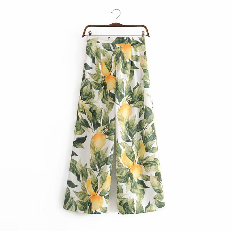 2020 Summer New Zipper Green Lemon Print Casual Wide Leg Zaraing Vadiming Sheining Women Female Pants Trousers Y-P8492