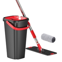Handfree Flat Floor Mop and Bucket Set Wringing Cleaning System Home Wash and Dry