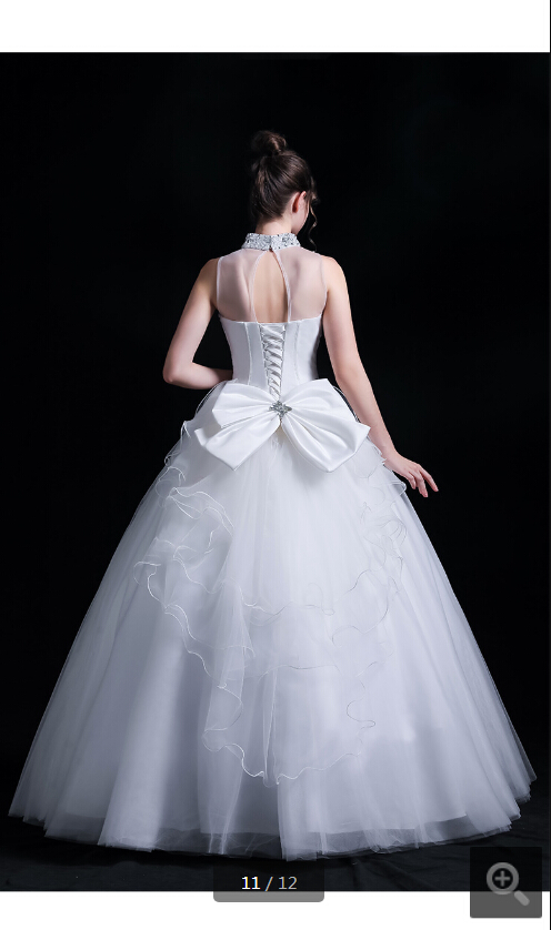 2020 New Arrival White Tulle Beading Ball Gown With Bow Wedding Dress Halter Neckline Holllow Back Sexy Corset Bride Dress
