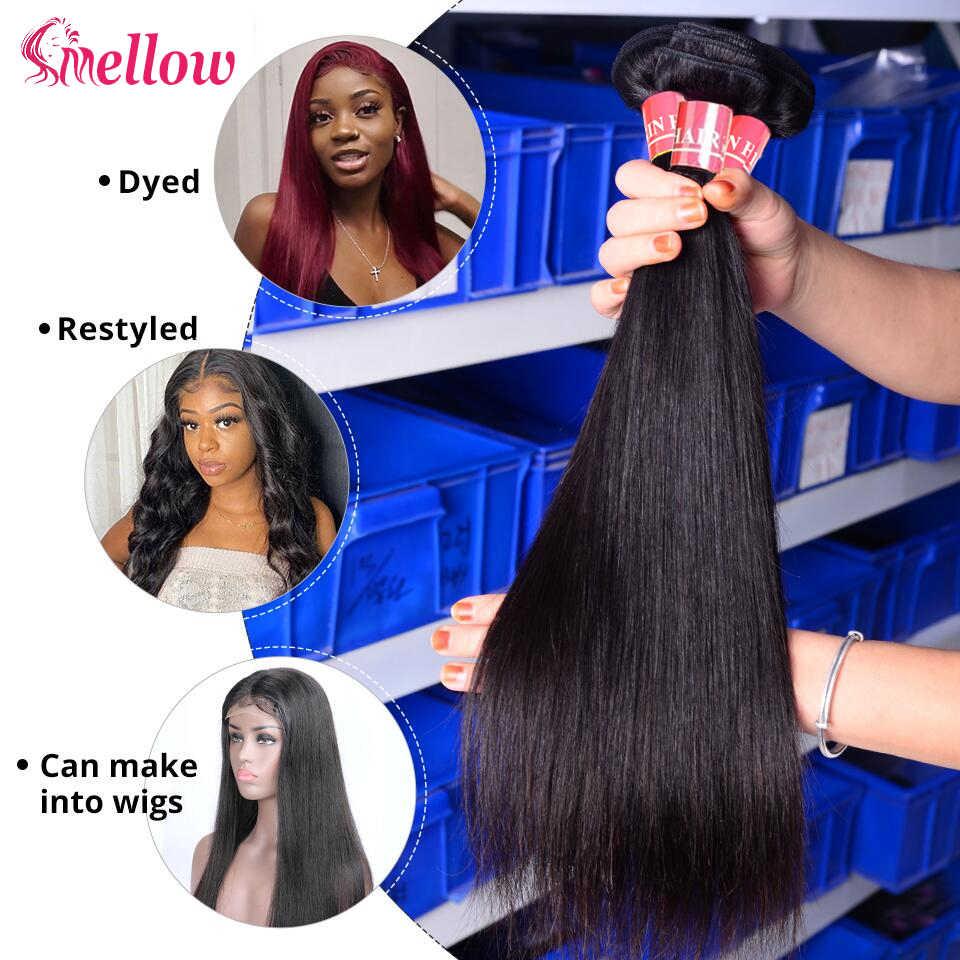 Mellow 28 30 32 34 40 Zoll Brasilianische Gerade Remy Haar Weben Natürliche Farbe 1 3 4 Bundles Deal 100% menschliches Haar Doppel Gezogen