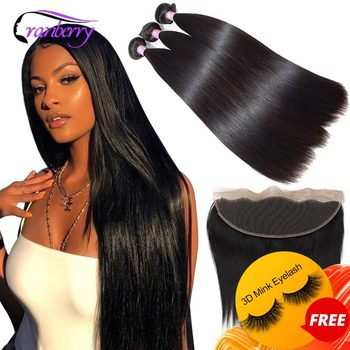 Cranberry Hair Straight Human Hair Bundles With Frontal Remy Peruvian Hair Bundles With Closure 13X4 Lace Frontal With Bundles image