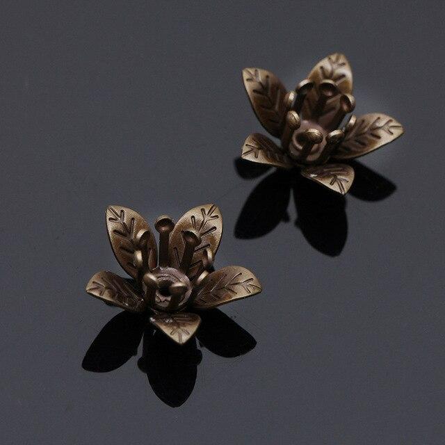 20 шт винтажные медные бусины в форме цветка 12 х7 мм фотография
