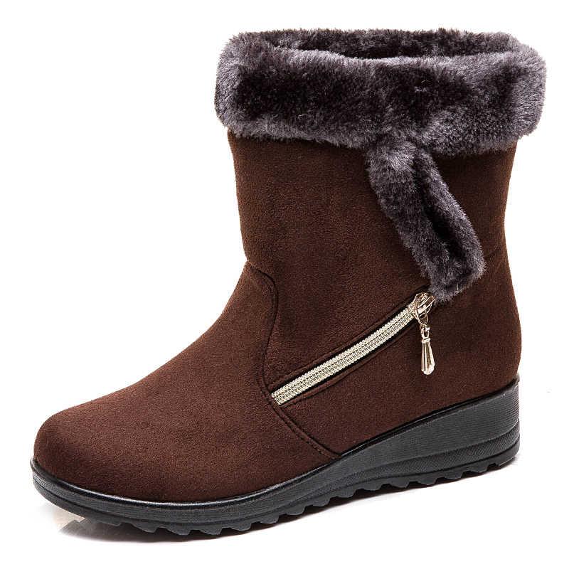 Kadın Botları 2019 Yeni Kar Botları Kış Ayakkabı Kadın Takozlar Topuklu Botas Mujer Artı Boyutu 43 yarım çizmeler Kadınlar Için patik