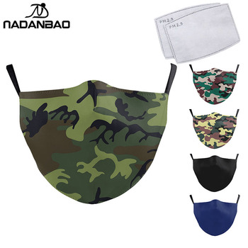 NADANBAO Classic Camouflage Mask For Adult Print Fabric Face Mask Washable PM 2.5 Protective Dust Reusable Mouth Mask