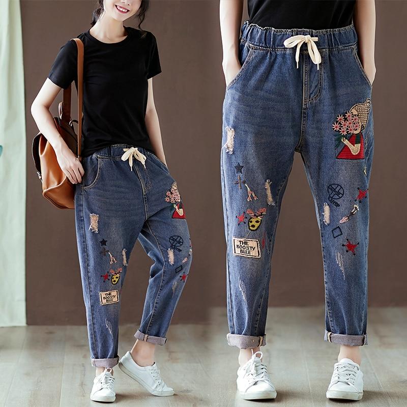 2020 Women's Jeans Embroidery Harem Pants High Waist Boyfriend Mom Jeans Mujer Loose Denim Pants Cartoon Print Trousers