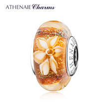 ATHENAIE 2019 New 925 Sterling Silver Golden Shimmer Jasmine Flower Murano Glass Charms Beads Fit Women Charms Bracelet & Bangle