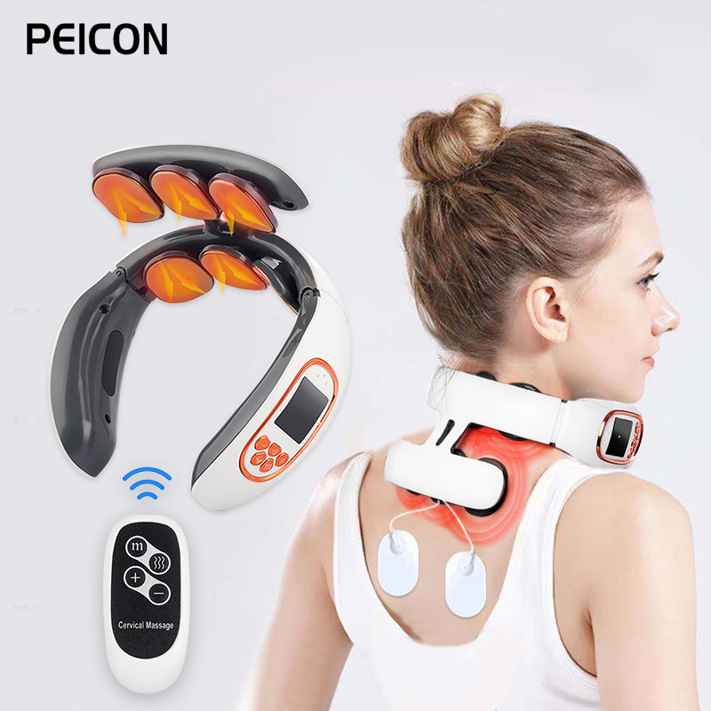 Электрический импульсный массажер для шеи и спины с 6 головками и пультом дистанционного управления