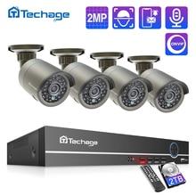 Sistema de cámaras de seguridad de vigilancia POE H.265, 4 canales, 1080P, NVR, vídeo de exterior