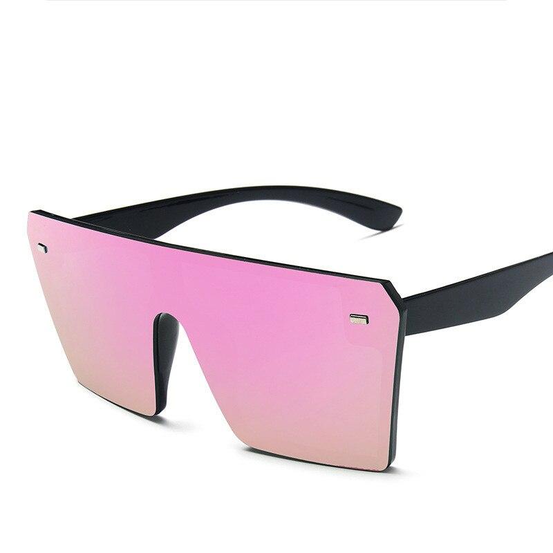 Oversized Square Sunglasses Women 2021 Luxury Brand Fashion Flat Top Red Black Clear Lens One Piece Men Gafas Shade Mirror UV400 11