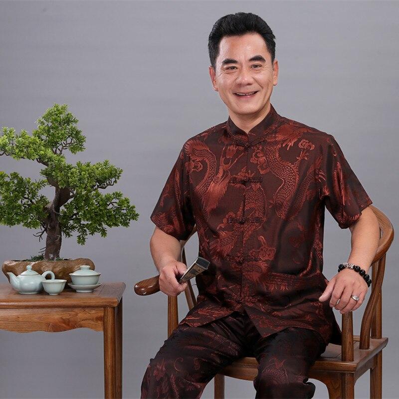 Manches courtes pantalons longs Kung Fu costume Plus 4XL nouveau chinois hommes costume Tang ensembles Dragon Satin soie Wu Shu Tai Chi ensembles pour père