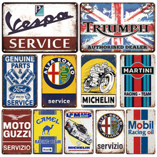 Martini Metal Plaque Tin Sign Vintage Vespa Service Metal Poster Garage Decorative Plates Retro Garage Room Man Cave Wall Decor