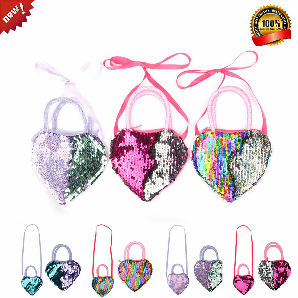 Pudcoco 2019 New Baby Girl Kids Gradient Sequin Shaped Ribbon Long Strap Purse Coin Pocket Bag Gift For Baby image