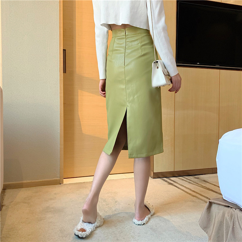 HELIAR Women PU Leather Skirts High Waist Solid Straight Elegant Split Skirt Midi Leather Skirts For Women 2021 Spring 3