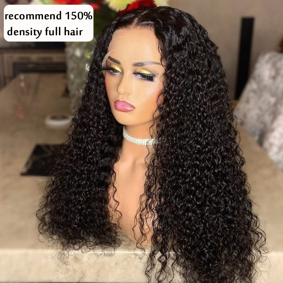 Curly Natural Brazilian Lace Front Wigs 150 Density