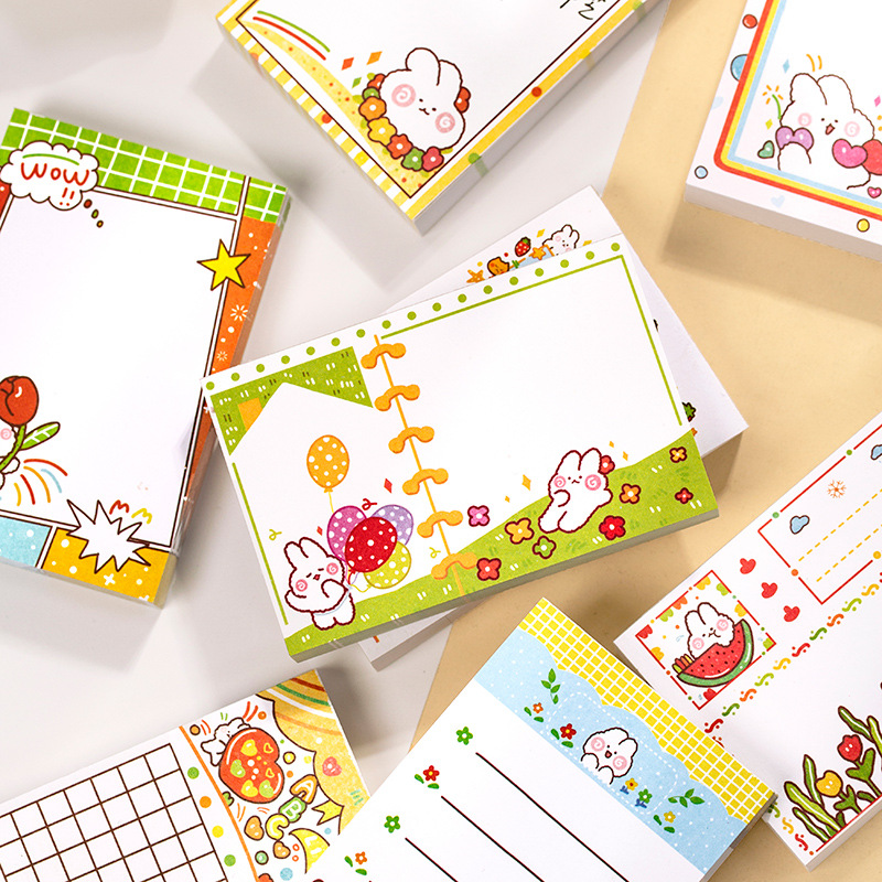 1set/lot Memo Pads Sticky Notes Cute Rabbit Series Paper Diary Scrapbooking Stickers Office School Stationery Notepad