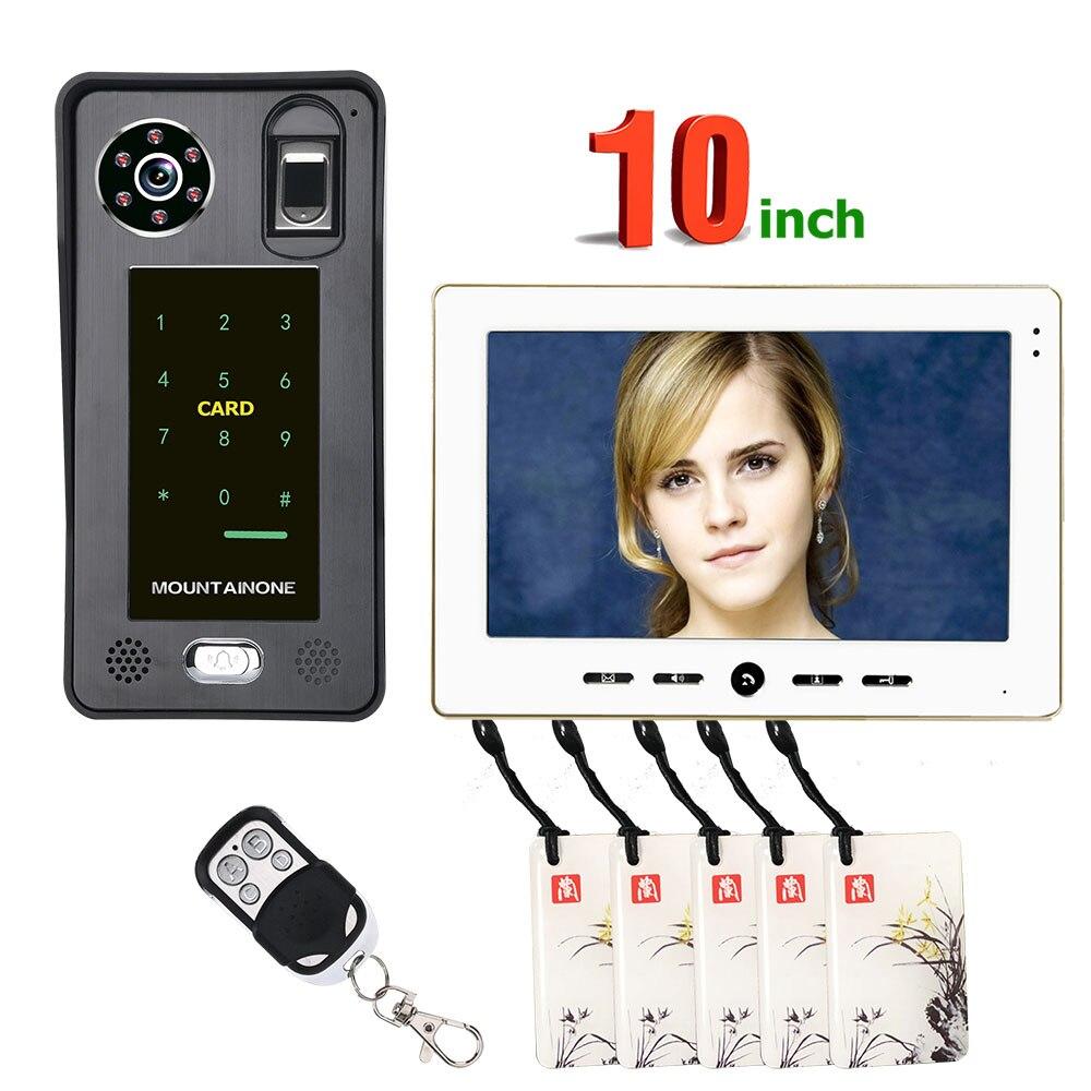10inch Fingerprint IC Card Video Door Phone Intercom Doorbell With Door Access Control System Night Vision Security CCTV Camera