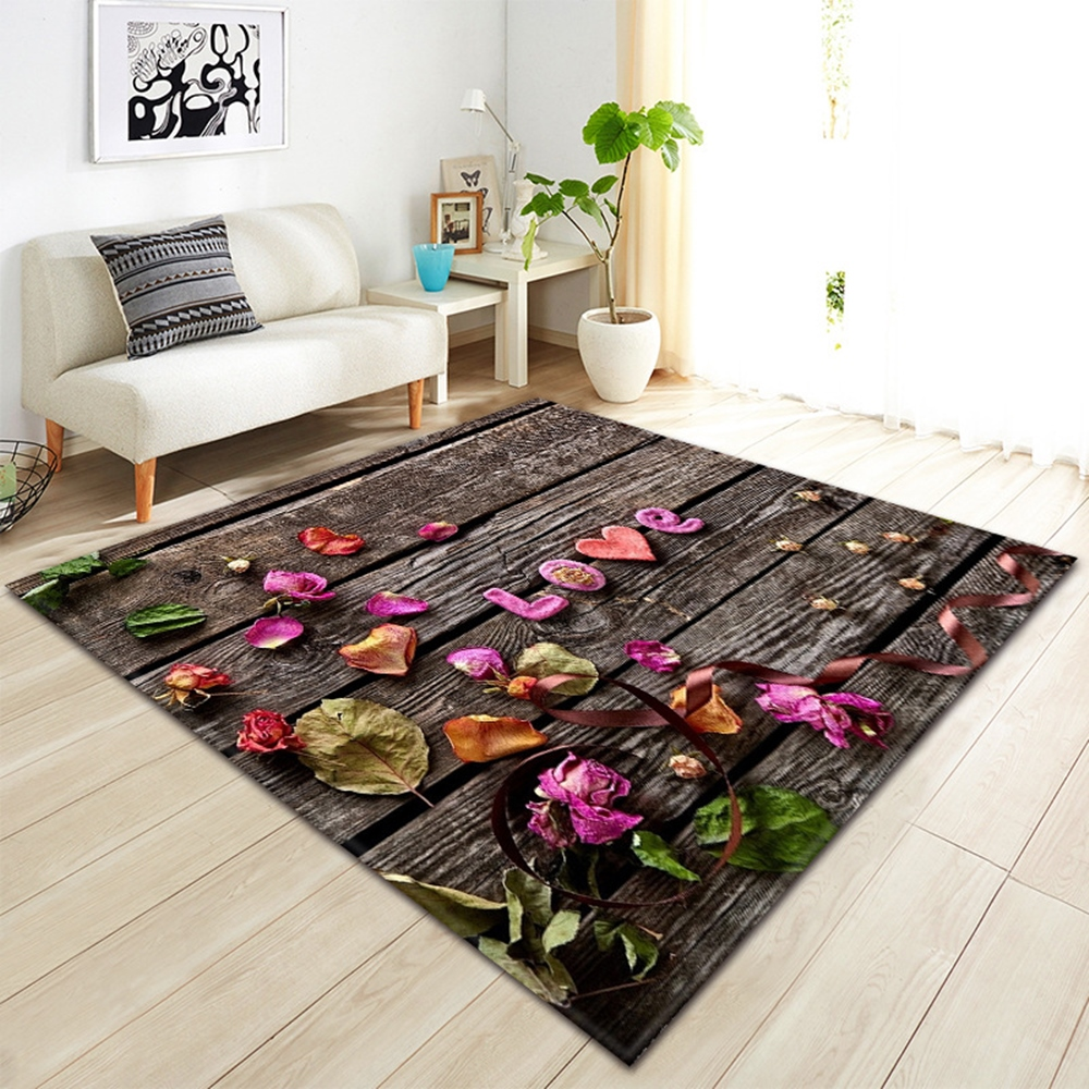 Nordic Living Room Carpet Kids Room Decoration Rug Home 3D Wood grain Children Non-slip Carpet Hallway Floor Bedroom Bedside Mat image