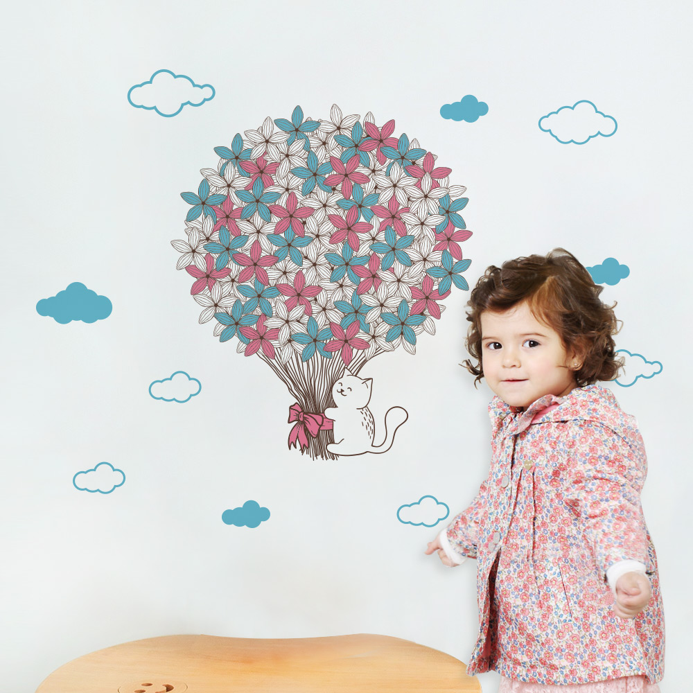Hot Air Balloon White Cloud Wall Stickers Children Room Decoration Stickers Cute Cat Bedroom Living Room Decoration