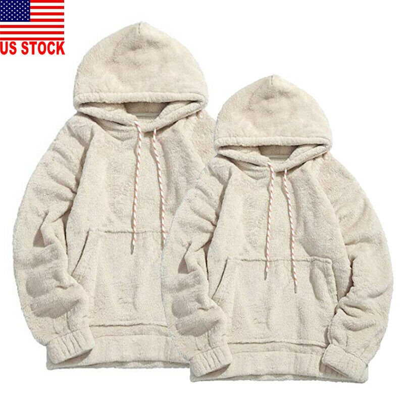 2020 Hot Men Hoodies Solid Long Sleeve Warm Fluffy Hoodie Pullover Fleece Autumn Winter Loose Sweatshirt Hooded Coat Warm Jumper