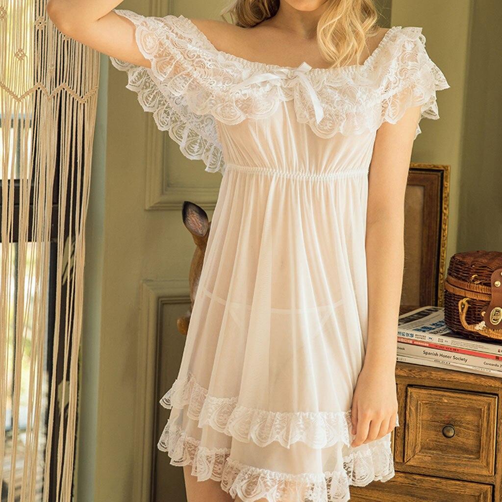 Women Backless Sexy Lace Sleepwear Ladies Sexy Lingerie Underwear Dress Babydoll Hot Erotic Nightdress Nightgown Homewear S-7XL
