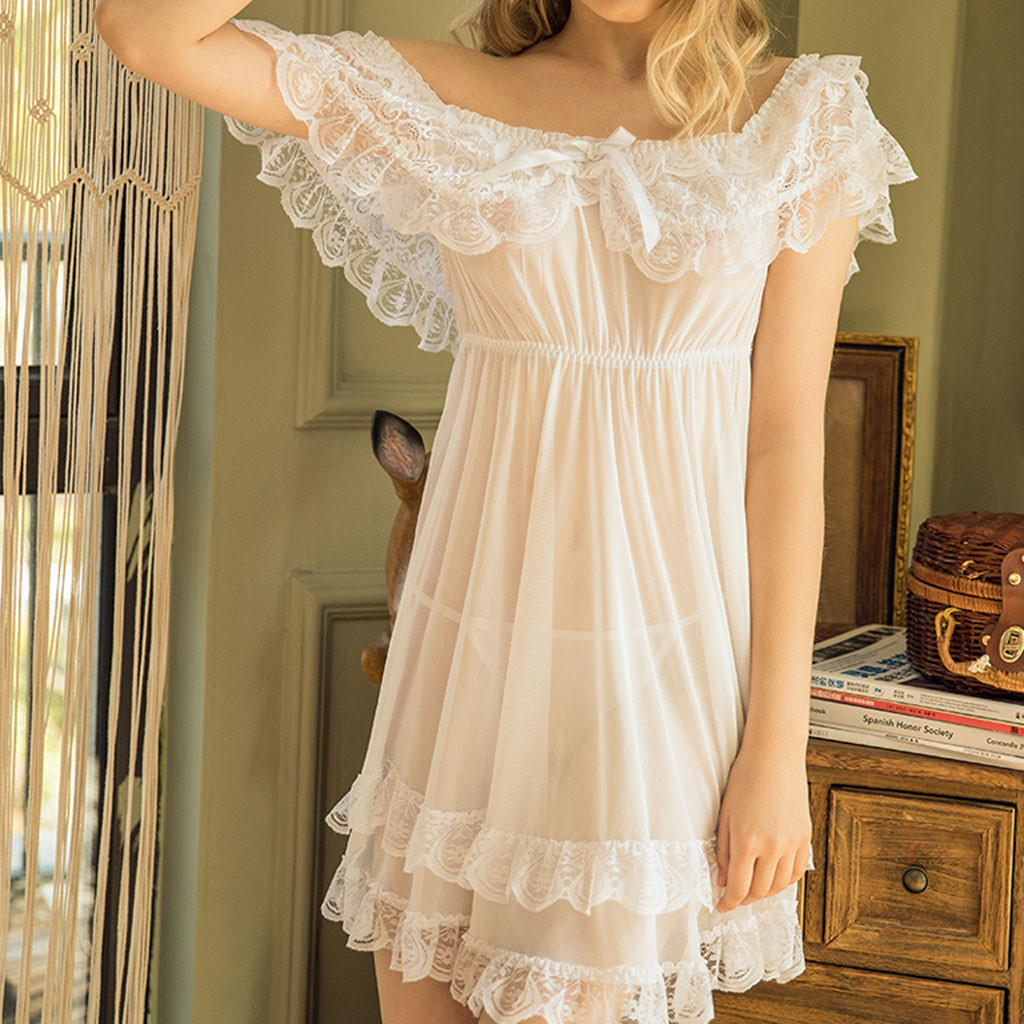 Women Backless <font><b>Sexy</b></font> Lace Sleepwear Ladies <font><b>Sexy</b></font> <font><b>Lingerie</b></font> Underwear Dress Babydoll Hot Erotic Nightdress Nightgown Homewear S-<font><b>7XL</b></font> image