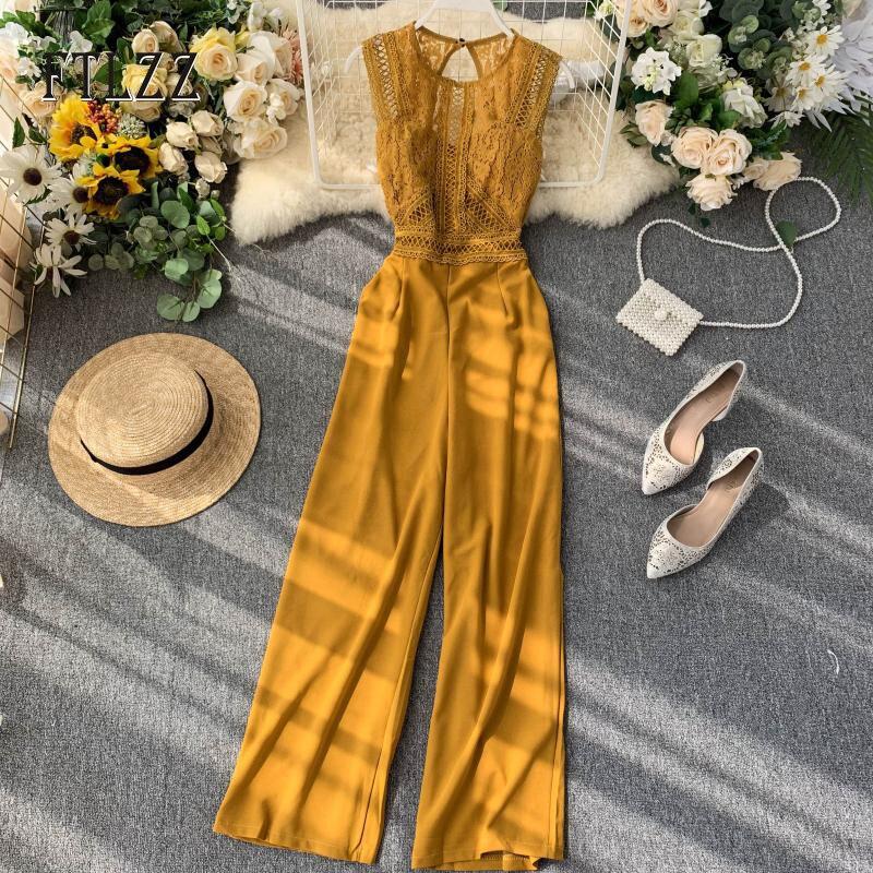 2020 New Autumn Playsuit Women Slim Sleeveless Patchwork Lace Jumpsuits Ladies Beach Long Pants Bodysuit