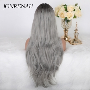 Image 3 - JONRENAU Long Natural Wave Synthetic Ombre Dark Brown to Ash Gray Wigs for White Black Women Party Costume Cosplay  Hair wig