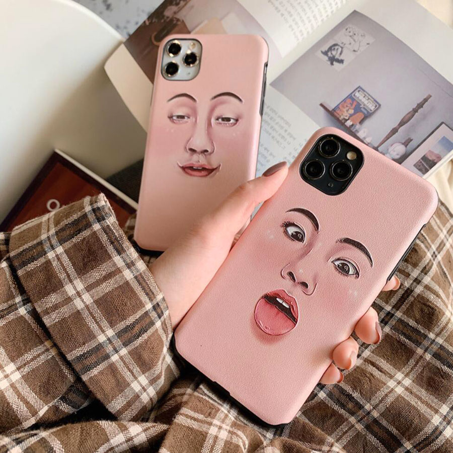 ins Fashion Funny Face Humor Cellphone Case For iPhone 11 Pro Max Art Abstract Phone Shell X XR XS Max 7 8 6 6s Plus Soft Case