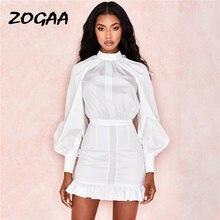 Zogaa с пышными рукавами белое платье для женщин повседневные