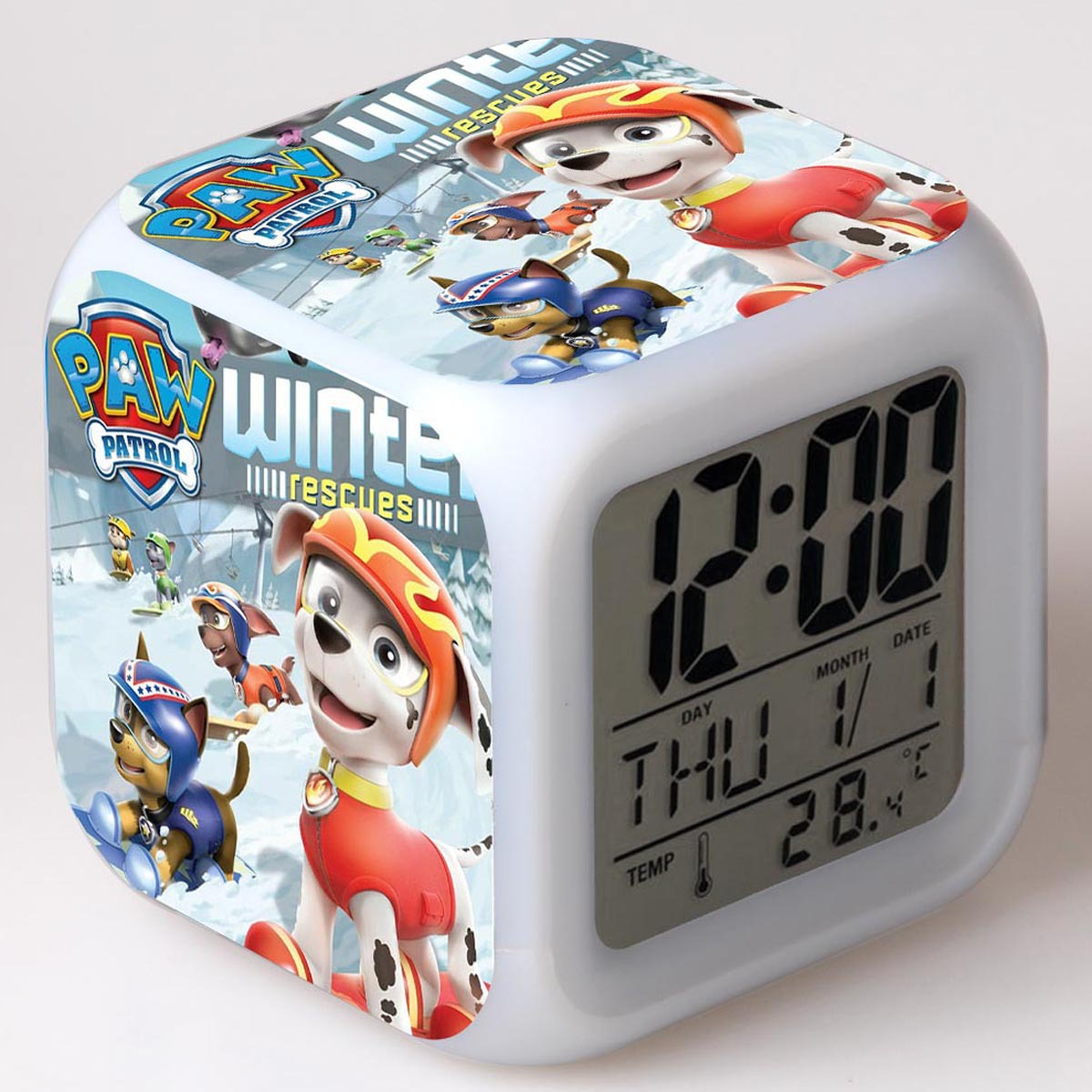 PAW PATROL Anime Luminous Alarm Clock Timer Toys For Children Luminous Table Lamp Digital Clock Party Home Decor Gifts For KidTo