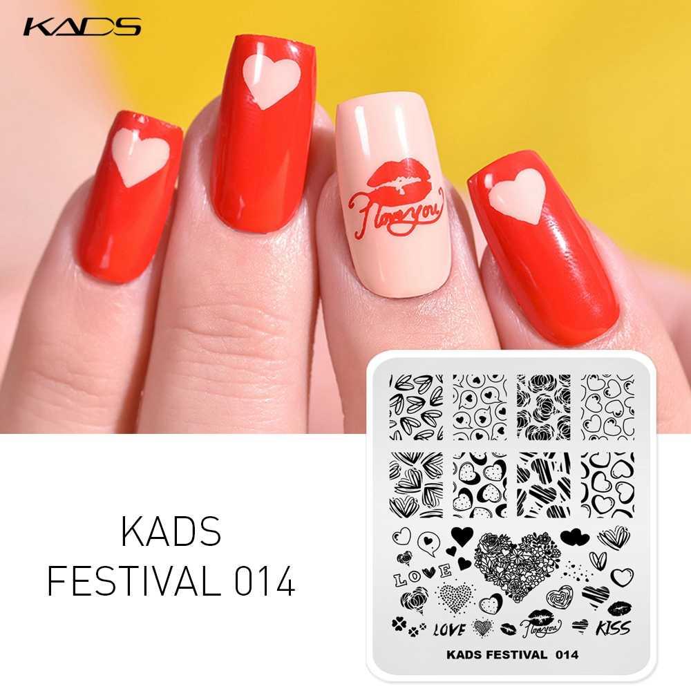 KADS วันวาเลนไทน์ Nail Art Stamping PLATE Heart Kiss เพชรภาพ DIY Nail Art ตกแต่งเล็บ Stencil เครื่องมือ