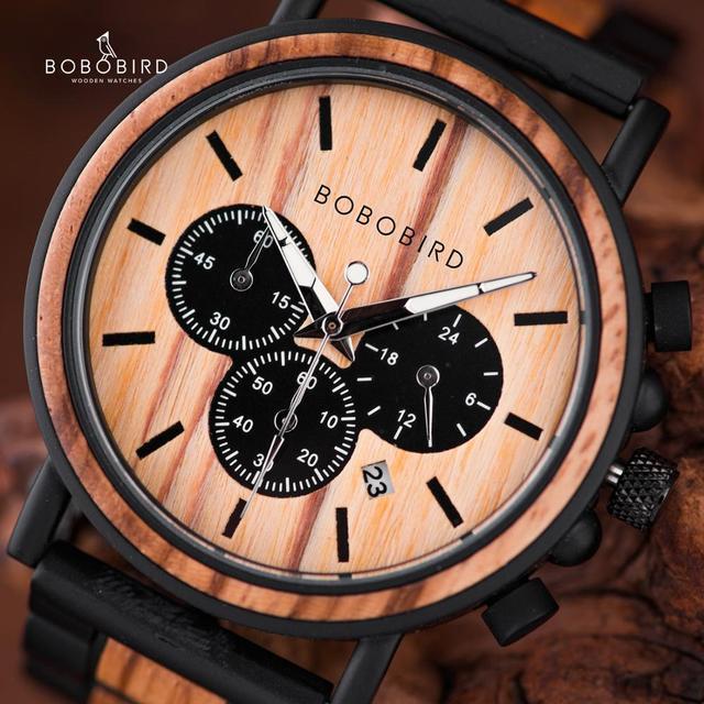 BOBO BIRD ไม้นาฬิกาผู้ชาย Relogio Masculino Luminous Luxury TOP ยี่ห้อ Chronograph นาฬิกา erkek Kol saati Drop Shipping