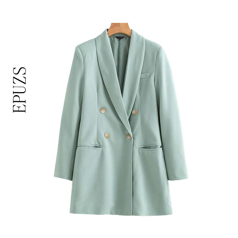 2019 Autumn Double Breasted Long Blazer Women Pockets Long Sleeve Office Suit Coats Female Casual Outerwear Tops