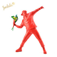 Red Color Arrive Banksy Flower Bomber Resin Figurine England Street Art Sculpture Statue Bomber Polystone Figure Collectible Art