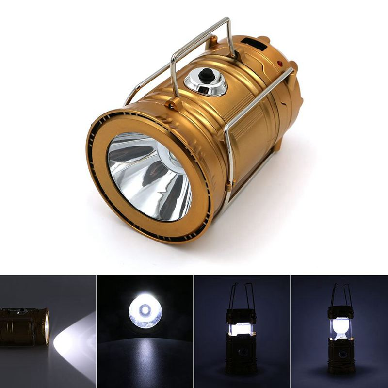 EU Plug,LED Solar Powered Collapsible Flashlights Portable Lamp LED Rechargeable Hand Lamp Hiking Camping Lantern Light Outdoor