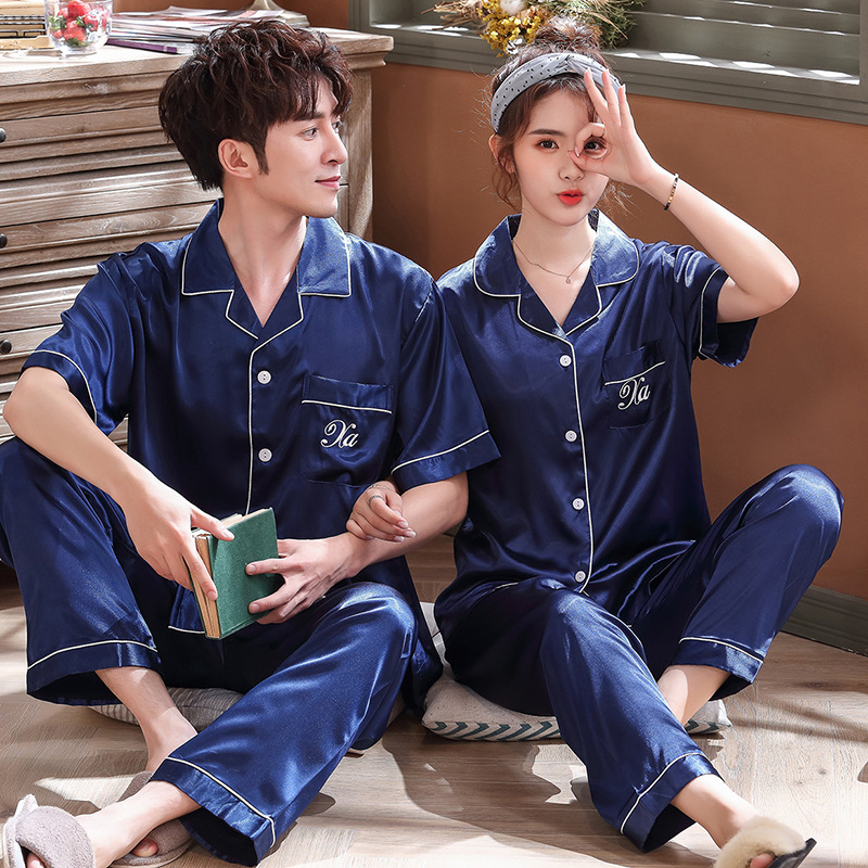 Summer New Korean Version Of The Simulation Silk Couple Pajamas Short Sleeve Trousers Men/Women Cardigan Home Service Suit
