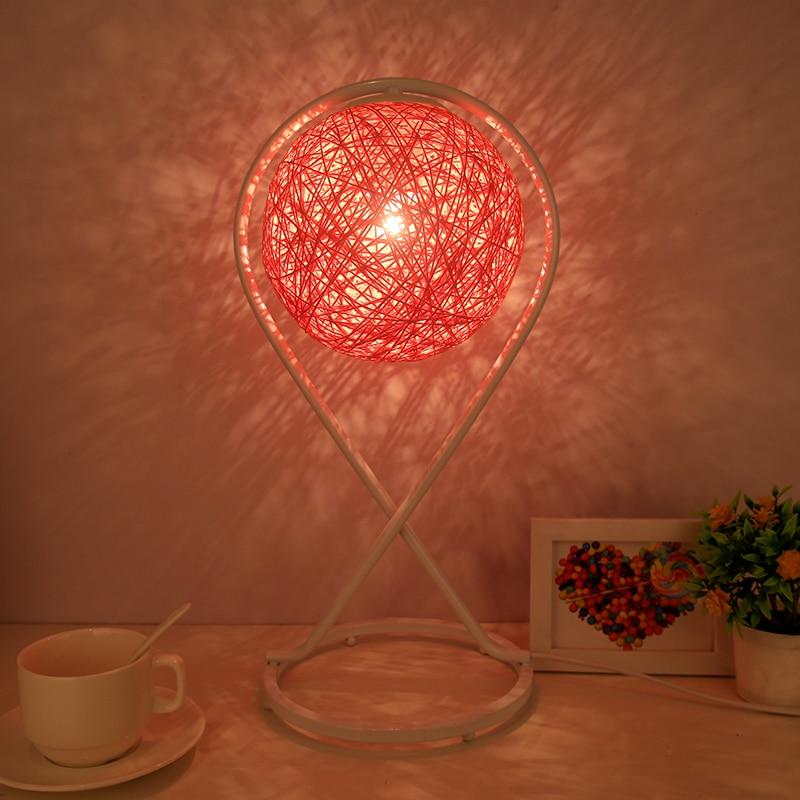 Table lamp bedroom bedside lamp creative romantic simple Pastoral art modern feeding gift solid wood rattan table lights|Pendant Lights| |  - title=