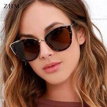 Модные леопардовые солнцезащитные очки кошачий глаз женские