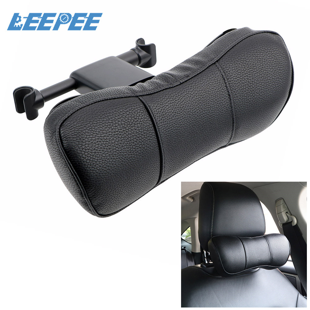 Universal Car Neck Pillow Auto Head Rest Cushion Neck Rest Cushion PU Leather Soft 3D Memory Foam for Seat Chair In Auto