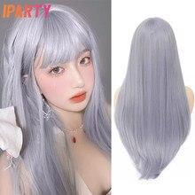 Perruque synthétique droite avec frange bleu gris perruques de couleur Lolita partie moyenne fibre résistante à la chaleur cheveux entièrement doux IPARTY 26 pouces