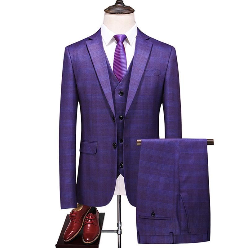 Fashion Plaid Modern Mens Wedding Suits 2020 Spring New 3 Pieces Luxury Men Wedding Suit Male Blazers Slim Fit Suit