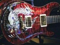 Caña de dragón llama roja de Arce, máxima electricidad abulón de guitarra, incrustación de pájaros, pieza trasera envolvente, encuadernación corporal de madera, cabeza de Águila