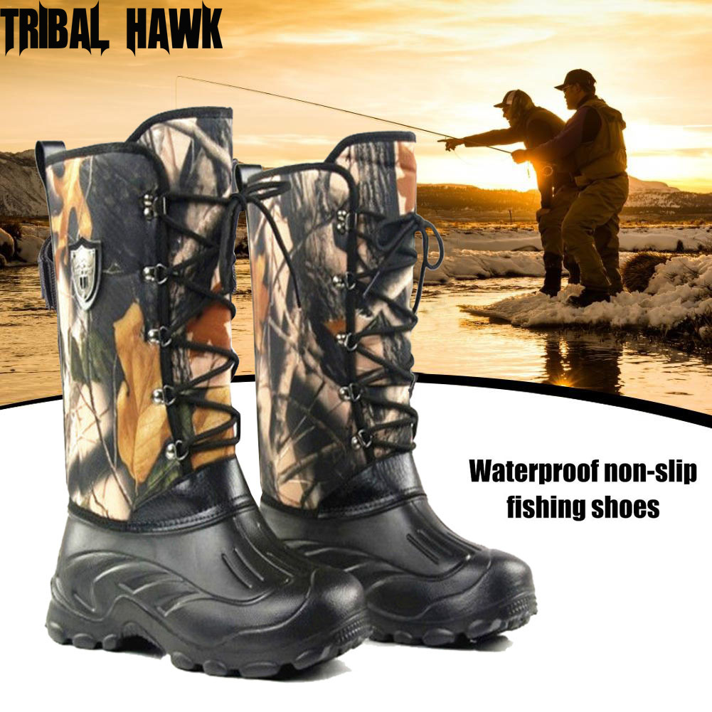 Waterproof Non-slip Fishing Shoes Autumn Winter Velvet Warm Fishing Waders Outdoor Hiking Hunting Camouflage Snow Boots