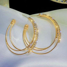 Ice River Delicate Women Zirconia Hoops Earrings Round Circle Shiny Double Rings Earring Female Trendy Jewelry Gold Color 1 pair pair of trendy solid color circle long earrings for women