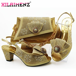Image 5 - Fashion Autumn Square Heels 7.5 CM Shoes And Bag Set 2019 New Style Shoes With Bag Set Usage Party Dress Large Size 38 43