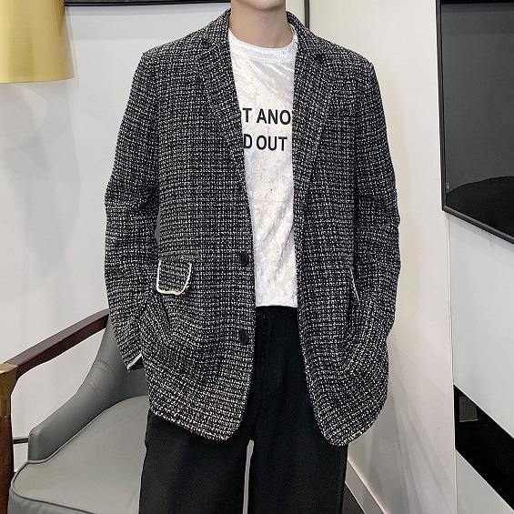 Casual Plaid Blazer Coat Stylish Blazers Men Streetwear Hip Hop Suit Jacket Outerwear Men Vintage Fashion Single Breasted Loose