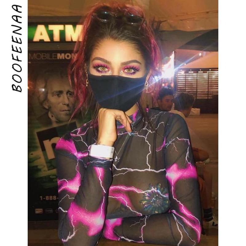 BOOFEENAA Fashion Printed Sheer Mesh Sexy Bodysuit Long Sleeve Shirt Women Club Tops See Through Jumpsuit Clubwear 2020 C94-I26