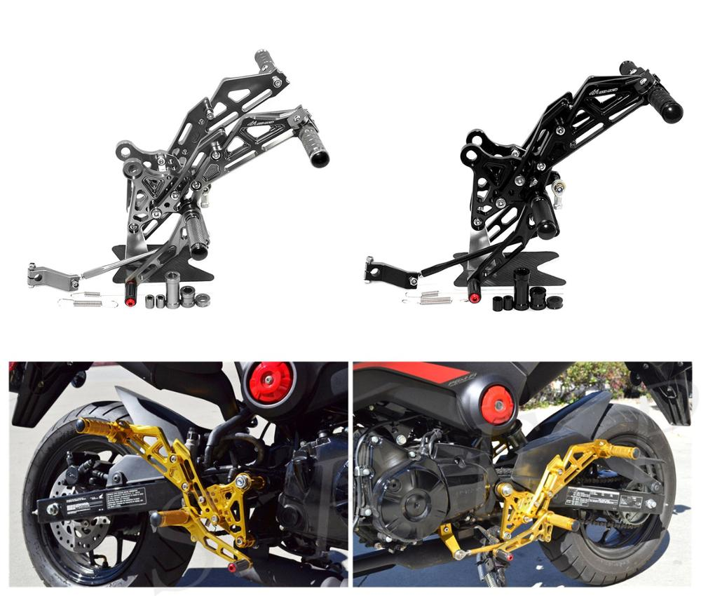 CNC Adjustable Footrest <font><b>Rearsets</b></font> Foot Pegs Set For Honda GROM <font><b>MSX125</b></font> 2013 2014 2015 2016 2017 2018 2019 image