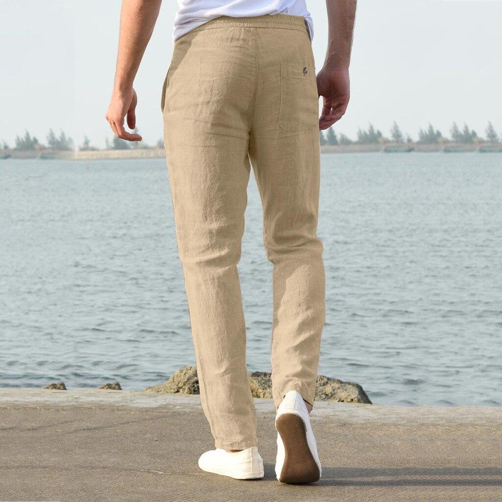Hf70381110db3431d853d1e4f9e86fa6al Feitong Fashion Cotton Linen Pants Men Casual Work Solid White Elastic Waist Streetwear Long Pants Trousers